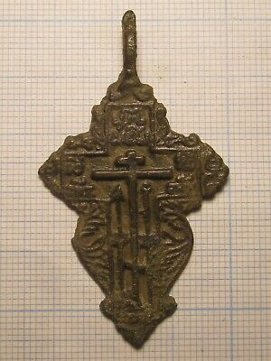 "ANTIQUE 18-19th CENTURY LARGE ORTHODOX ""OLD BELIEVERS"" ORNATE CROSS PSALM 68 K54"