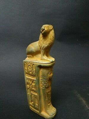 Rare Antique Ushabti Egyptian Ancient Shabti Statue Mummy hieroglyphic Lion bc