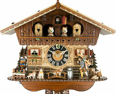 High-quality chalet cuckoo clock with mechanical 1-day-movement, music,dancers