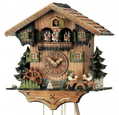 Hand-scarved chalet cuckoo clock with mechanical 8-days-movement and music (with