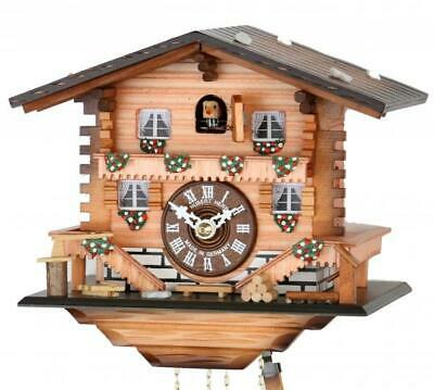 Swiss chalet: high-quality chalet cuckoo clock with mechanical 1-day-movement, .