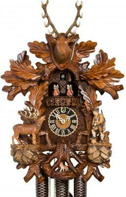 Carved cuckoo clock with mechanical 8-days-movement and music (with a moving ...