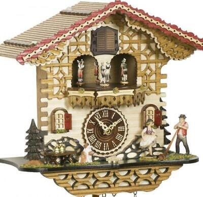 Chalet cuckoo clock with quartz movement and music (with moving dancers), 4223 .