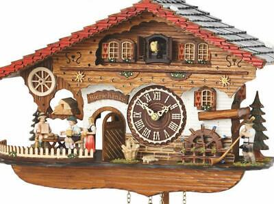 Chalet cuckoo clock with quartz movement and music (with moving waitress / ...