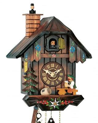 Chalet cuckoo clock with mechanical 1-day-movement (with moving chimney sweeper