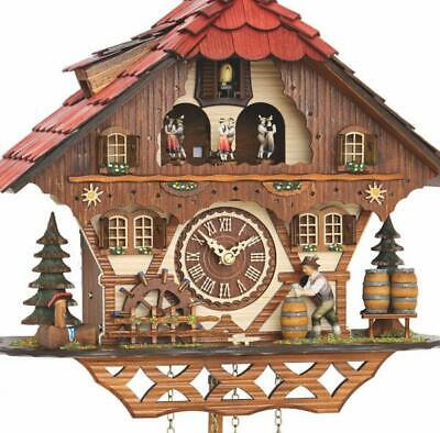 Chalet cuckoo clock with quartz movement and music (with moving wine drinker / .