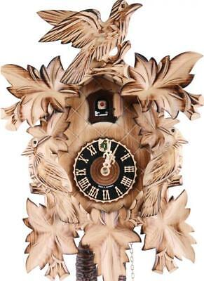 Carved cuckoo clock, burned, with mechanical 1-day-movement, 101/3ge