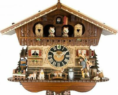 High-quality chalet cuckoo clock with mechanical 1-day-movement and music (with