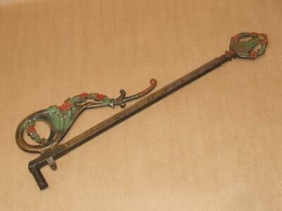 ONE Antique Victorian Painted Floral Cast Iron Expandable Swing Arm Curtain Rod