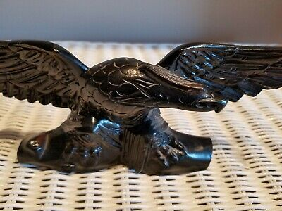 "Vintage Hand Carved Wooden Eagle Statue 13"" Spread Wings"