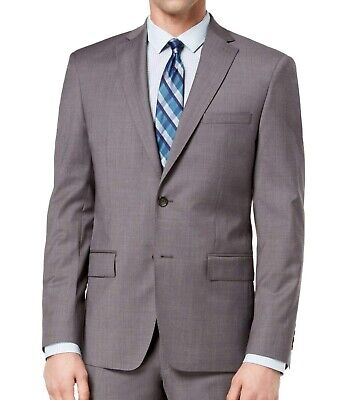 DKNY NEW Charcoal Gray Mens Size 38 Notch-Collar Two Button Wool Blazer $525 030