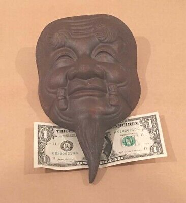 Vintage Japanese Cast Iron Old Wise Man Heavy Hanging Ceremonial Mask Signed