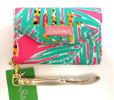Lilly Pulitzer Ring Me Up Wristlet Hotty Pink Mini Case for iPhone 3, 4, 4 S NWT