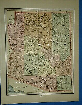 Vintage 1892 MAP ~ ARIZONA TERRITORY ~ Old Antique Original Atlas Map