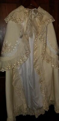 ANTIQUE VICTORIAN EYELET SILK EMBROIDERED CHRISTENING COAT FOR BABY or doll 36""