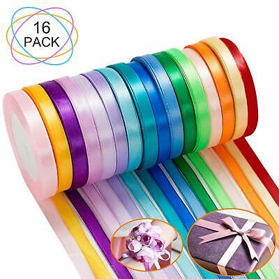 "16Pack -16 Colors Satin Ribbon Roll Reel Width 10mm 3/8"" Double Sided 23M Each"
