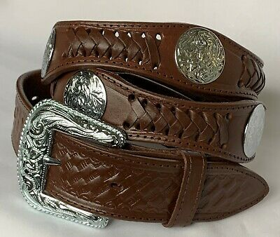 Arizona Southwestern Conchos Western Leather Scalloped Belt