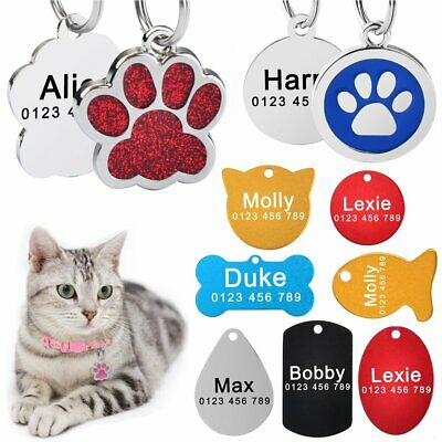 Dog Tags Personalized Free Engraved Name Fit Dog Cat Puppy Kitten Paw Bone Tags