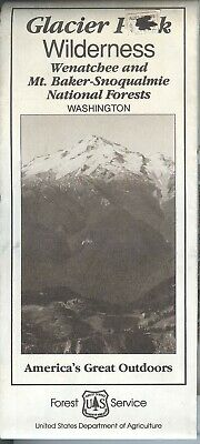 USDA National Forest Service Map Glacier Park Wilderness 1992 Wenatchee Mt Baker