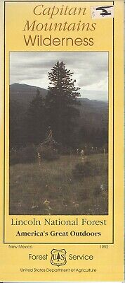 USDA National Forest Service map CAPITAN MOUNTAINS Wilderness New Mexico 1992