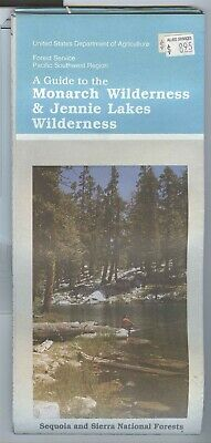 USDA National Forest Service Map MONARCH & JENNIE LAKES Wilderness 1991 Sequoia