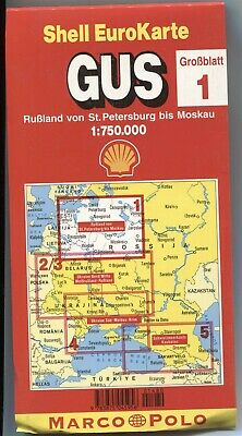 Marco Polo Shell EuroKarte Map - GUS  St. Petersburg to Moscow Russia