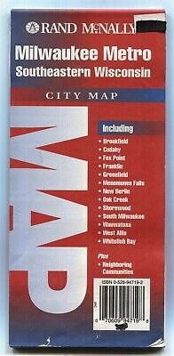 Rand-McNally city map MILWAUKEE METRO 🧀Southeastern Wisconsin ©1997 Seeger 🗺⚠
