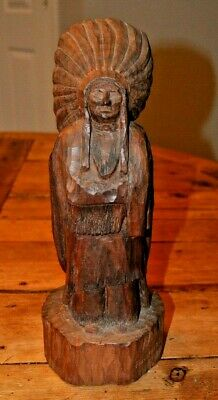 Frank Forte Wood Carving of a Chief Vintage 1980
