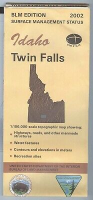 USGS BLM edition topographic map Idaho - TWIN FALLS - 2002 - gem state