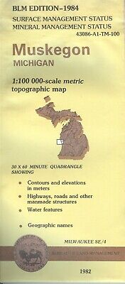 USGS BLM edition topographic map Michigan MUSKEGON 1984 mineral MILWAUKEE SE/4
