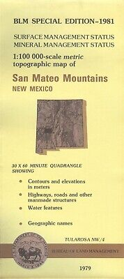 USGS BLM edition topo map SAN MATEO MOUNTAINS New Mexico -1981- mineral -100K-