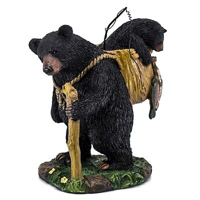 """Black Bear With Cub Gone Fishing Figurine Statue 7""""H Resin New!"""