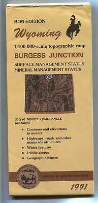 USGS BLM edition topographic map BURGESS JUNCITON - Wyoming - 1991 - 100K -
