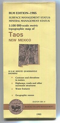 USGS BLM edition topographic map New Mexico TAOS 1985 mineral+surface RATON SW/4