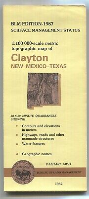 USGS BLM edition topo map CLAYTON - New Mexico Texas 1987 Dalhart SW/4 1982 100K