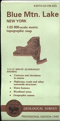 USGS Topographic Map NY - BLUE MTN. LAKE - 1989 provisional - 25K - New York -