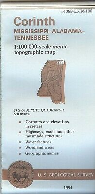 USGS Topographic Map CORINTH - Mississippi Alabama Tennessee - 1984 - 100K -