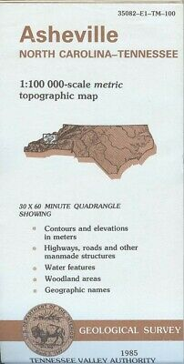 USGS Topographic Map ASHEVILLE - North Carolina Tennessee - TVA - 1985 - 100K -