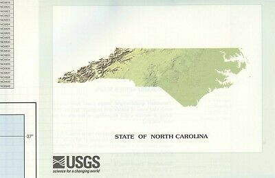 USGS State Index for Topographic Maps NORTH CAROLINA double-sided 40 x 56 inches