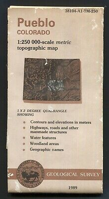 USGS topographic map PUEBLO Colorado 1:250,000 - 1989 - biopredation 🐜 holes