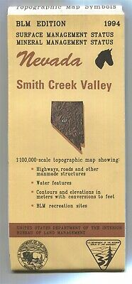 USGS BLM edition topographic map Nevada SMITH CREEK VALLEY -1994- mineral 100K