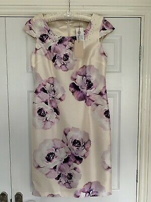 Ladies Jacques Vert Dress Size 10 Ivory/Cream With Purples/Lilacs BNWT