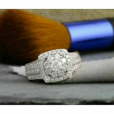 2.00 Ct Round Cut Diamond Cluster Engagement Wedding Ring 14K White Gold Over