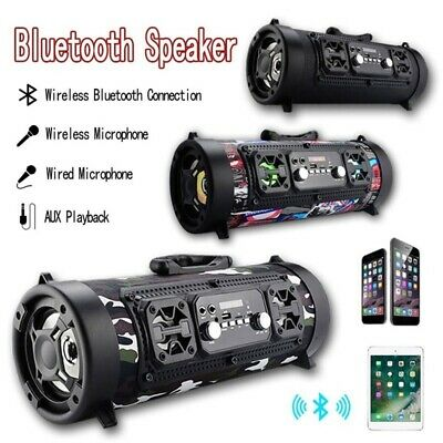 Portable Wireless Bluetooth Speaker Stereo Radio Super Bass Music AUX FM TF HIFI