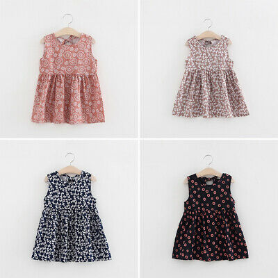 Toddlers Dress Baby Girls Party Summer Cotton Sleeveless Dress Fashion