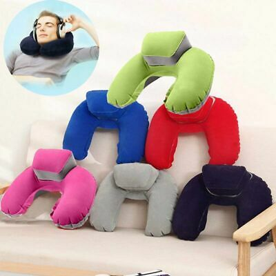Inflatable U Shaped Travel Pillow Neck Support Head Rest Car Airplane Cushion