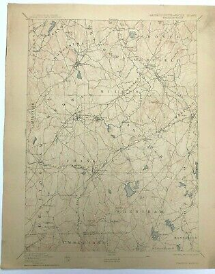 Antique 1914 Geological Survey Topographic Map MA Franklin Wrentham Holliston