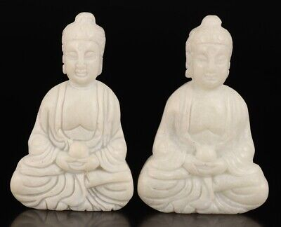 2 Spiritual Sitting Buddha White Jade Hand Carving Necklace Pendant Statue Old