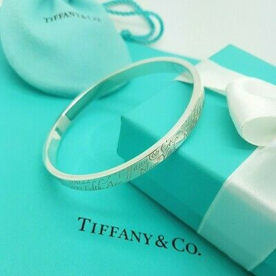 Authentic Tiffany & Co. Sterling Silver Script Note Notes Bangle Bracelet RARE