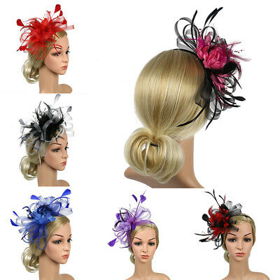 Feather Headband Ascot Hair Accessories Wedding  Fascinator Race Royal Flowers